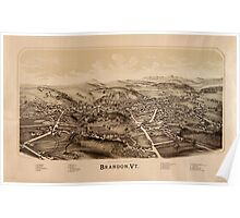 Panoramic Maps Brandon Vt Poster