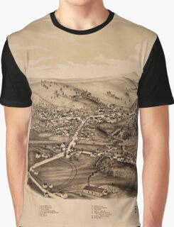 Panoramic Maps Brandon Vt Graphic T-Shirt