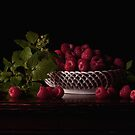 Raspberry Still Life With Leaves by Rachel Slepekis