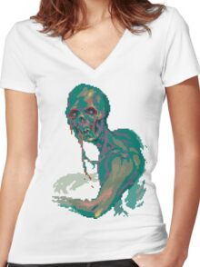 Pixel Zombie Women's Fitted V-Neck T-Shirt