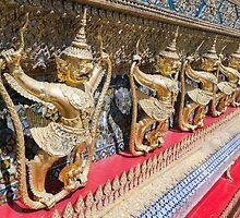Detail on Wat Phra Kaew, Temple of the Emerald Buddha, Wat Phra Si Rattana Satsadaram, Grand Palace, Bangkok by kytefoto