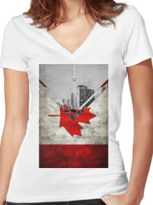 Flags - Canada Women's Fitted V-Neck T-Shirt