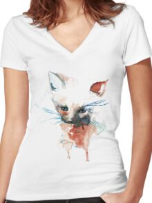 Cat of Three Colour Women's Fitted V-Neck T-Shirt