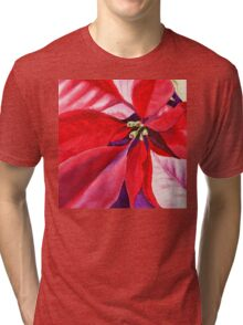 Christmas Red Poinsettia  Tri-blend T-Shirt