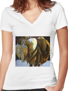 gold leaves Women's Fitted V-Neck T-Shirt