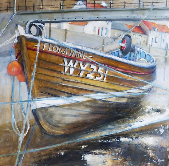 Bridge, Boat and Beck, Staithes by Sue Nichol