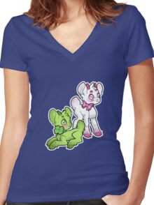 Clovers and Pink Ribbon Women's Fitted V-Neck T-Shirt