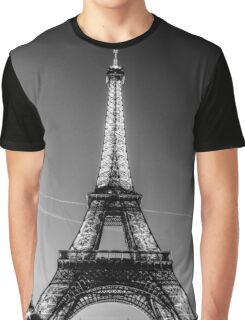 Eiffel Tower and sunset (Black and White) Graphic T-Shirt