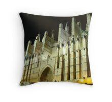 Palma Cathedral at night Throw Pillow