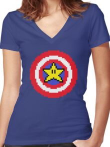 Captain pixel Women's Fitted V-Neck T-Shirt