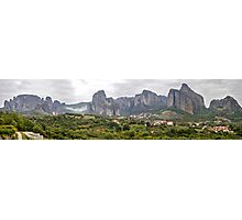 Spectacular panorama of Meteora rock formations and monasteries, Meteora, Plain of Thessaly, Greece Photographic Print