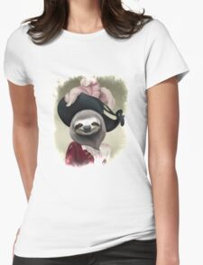 Aristocratic Lady Sloth Oil Painting Style Portrait Womens Fitted T-Shirt
