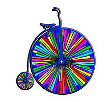 Penny-Farthing Bicycle with Kaleidoscope Wheels Photographic Print