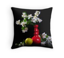 Jasmine bouquet in the vase on black background Throw Pillow