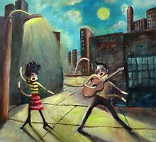 When Elvis and Phyllis Diller Meet In St. Louis On A Moonlit Night As Sock Monkeys by Randy  Burns