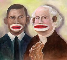 George Washington and Obama as Sock Monkeys by Randy  Burns