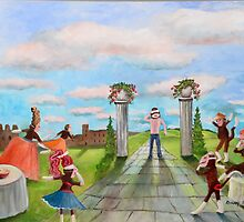 A Guest Enters the Masquerade on a Partly Sunny Day by Randy  Burns