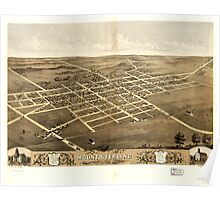 Panoramic Maps Birds eye view of Mount Sterling Brown County Illinois 1869 Poster