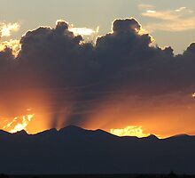 Sunset, Fire Over The Rockies by Shilohlin Pfeiffer
