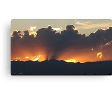Sunset, Fire Over The Rockies Canvas Print