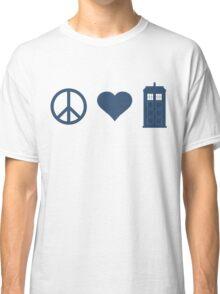 Peace, Love, Tardis Classic T-Shirt