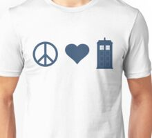 Peace, Love, Tardis Unisex T-Shirt