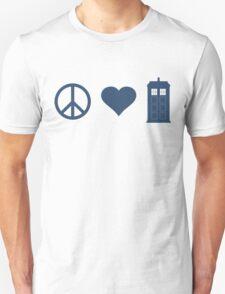 Peace, Love, Tardis T-Shirt