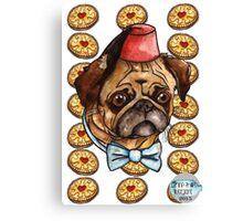 Pug & biscuits Canvas Print