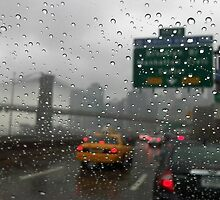 Brooklyn bridge and FDR drive at rainy day by Anton Oparin