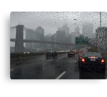 Brooklyn bridge and FDR drive at rainy day Canvas Print