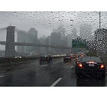 Brooklyn bridge and FDR drive at rainy day Photographic Print