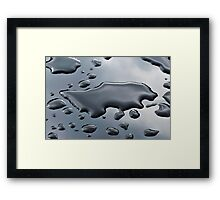 Pattern of water drops in a shining metallic surface with sky reflections 2 Framed Print