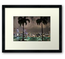 Pool on top of a city Framed Print
