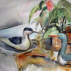 Still life with decoys by Karin Zeller