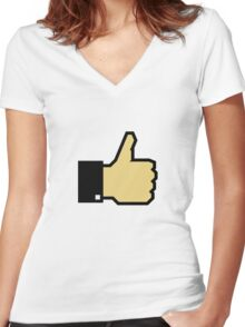 I like this! (Thumb Up) Women's Fitted V-Neck T-Shirt