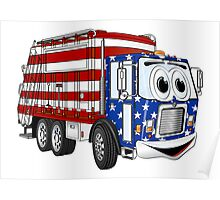 Patriotic Garbage Truck Cartoon Poster
