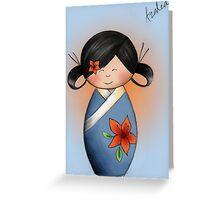 Azalea Kokeshi Doll Greeting Card