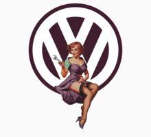Volkswagen Pin-Up Wrenching Wanda (dark purple) by Sarah Caudle