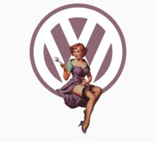 Volkswagen Pin-Up Wrenching Wanda (light purple) by Sarah Caudle