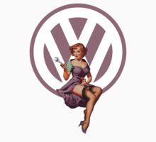 Volkswagen Pin-Up Wrenching Wanda (light purple) by Sarah Caudle