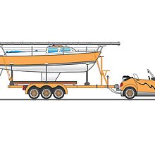 Orange Eco Car Sail Boat by Graphxpro