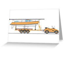 Orange Eco Car Sail Boat Greeting Card