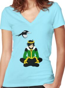 A boy and his magpie (cowl off) Women's Fitted V-Neck T-Shirt