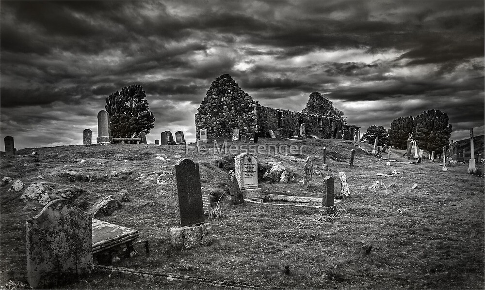 Cill Chriosd Church B&W by Fe Messenger