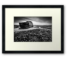 Barge Past BW Framed Print
