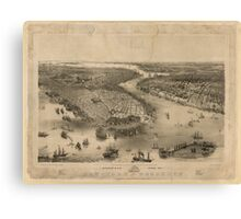 Panoramic Maps Bird's eye view of New-York  Brooklyn  drawn from nature  on stone by J Bachmann Canvas Print