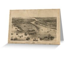 Panoramic Maps Bird's eye view of New-York  Brooklyn  drawn from nature  on stone by J Bachmann Greeting Card