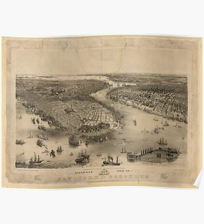 Panoramic Maps Bird's eye view of New-York  Brooklyn  drawn from nature  on stone by J Bachmann Poster