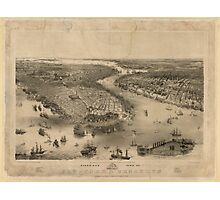 Panoramic Maps Bird's eye view of New-York  Brooklyn  drawn from nature  on stone by J Bachmann Photographic Print