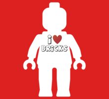 "White Minifig with ""I Love Bricks"" Slogan by Customize My Minifig by ChilleeW"